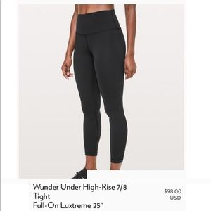 Lululemon Wunder Under 7/8 Leggings